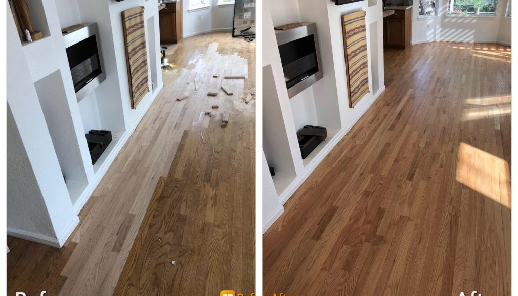 Oak Hardwood Floor Repair With Lace In And Refinishing Broomfield Colorado
